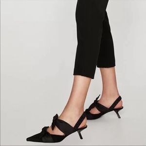 Zara Black Ribbon Bow Kitten Heels Size EU 37